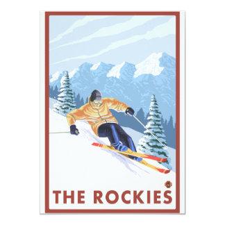 """Esquiador de la nieve de Downhhill - los Rockies Invitación 5"""" X 7"""""""