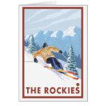 Esquiador de la nieve de Downhhill - los Rockies Tarjeta Pequeña