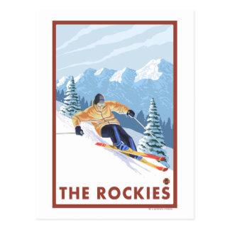 Esquiador de la nieve de Downhhill - los Rockies Postales