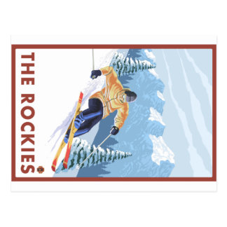 Esquiador de la nieve de Downhhill - los Rockies Tarjeta Postal
