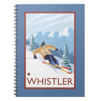 Esquiador de la nieve de Downhhill - marmota, A.C. Libro De Apuntes
