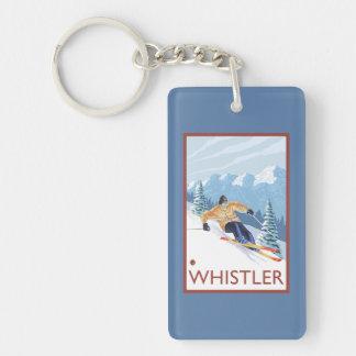 Esquiador de la nieve de Downhhill - marmota, A.C. Llavero Rectangular Acrílico A Doble Cara