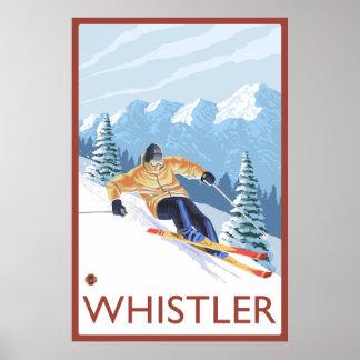 Esquiador de la nieve de Downhhill - marmota, A.C. Posters