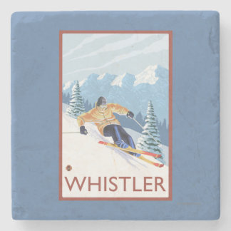 Esquiador de la nieve de Downhhill - marmota, A.C. Posavasos De Piedra