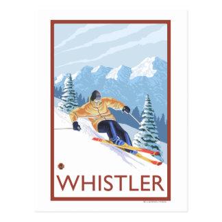 Esquiador de la nieve de Downhhill - marmota, A.C. Postal