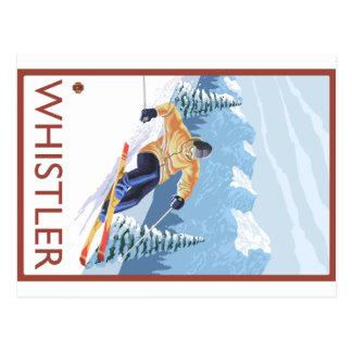 Esquiador de la nieve de Downhhill - marmota, A.C. Postales
