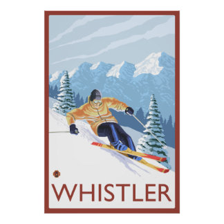 Esquiador de la nieve de Downhhill - marmota, A.C. Póster