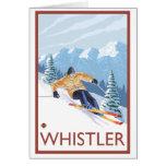 Esquiador de la nieve de Downhhill - marmota, A.C. Tarjeta Pequeña