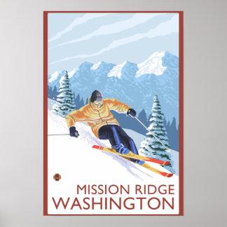 Esquiador de la nieve de Downhhill - misión Ridge, Póster
