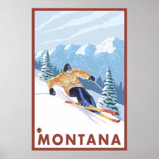 Esquiador de la nieve de Downhhill - Montana Posters