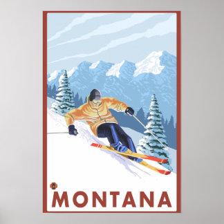 Esquiador de la nieve de Downhhill - Montana Póster