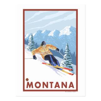 Esquiador de la nieve de Downhhill - Montana Tarjeta Postal