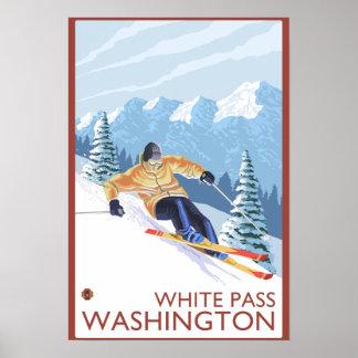 Esquiador de la nieve de Downhhill - paso blanco,  Póster