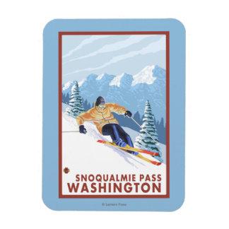 Esquiador de la nieve de Downhhill - paso de Imanes Rectangulares
