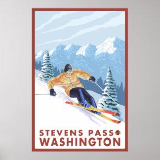 Esquiador de la nieve de Downhhill - paso de Steve Impresiones
