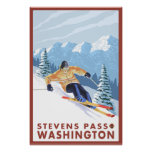 Esquiador de la nieve de Downhhill - paso de Steve Póster