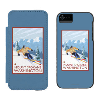 Esquiador de la nieve de Downhhill - soporte Funda Billetera Para iPhone 5 Watson