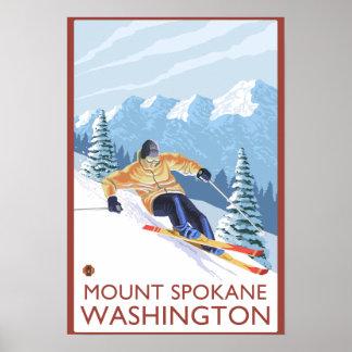 Esquiador de la nieve de Downhhill - soporte Spoka Posters