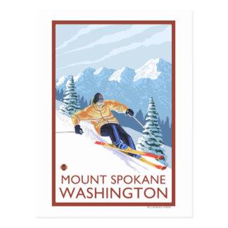 Esquiador de la nieve de Downhhill - soporte Tarjetas Postales