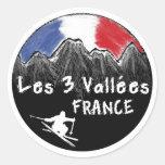 Esquiador de Les 3 Vallées Francia Etiqueta Redonda