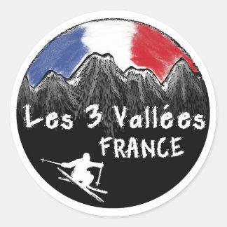 Esquiador de Les 3 Vallées Francia Pegatina Redonda