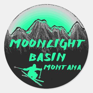 Esquiador de Montana del lavabo del claro de luna Pegatina Redonda