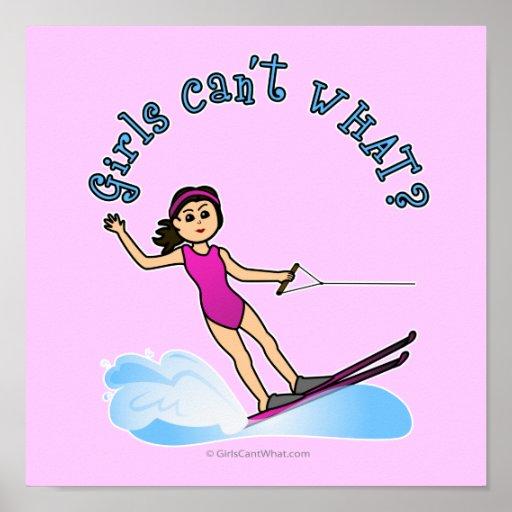 Esquiador de sexo femenino ligero del agua poster