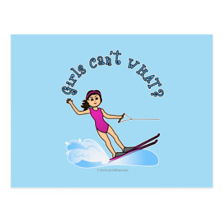 Esquiador de sexo femenino ligero del agua tarjetas postales