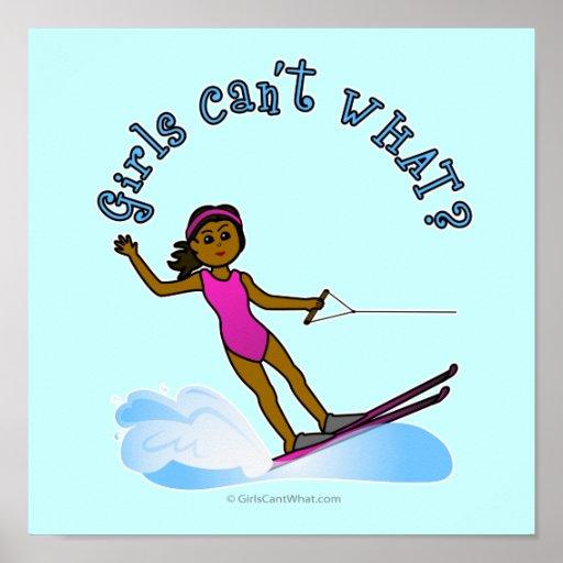 Esquiador de sexo femenino oscuro del agua poster