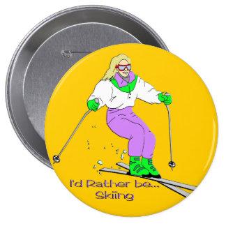 Esquiador de sexo femenino pin redondo de 4 pulgadas
