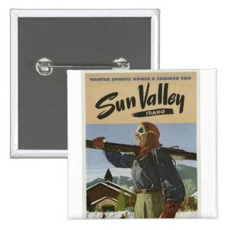 Esquiador de Sun Valley Idaho del vintage Pin Cuadrado