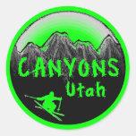 Esquiador de Utah de los barrancos Pegatina Redonda