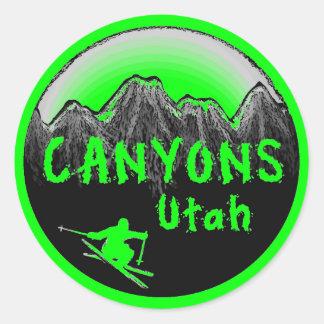 Esquiador de Utah de los barrancos Etiquetas Redondas
