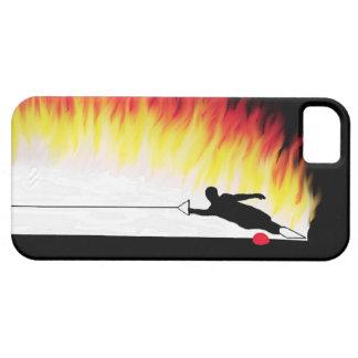Esquiador del agua del eslalom con las llamas iPhone 5 carcasas
