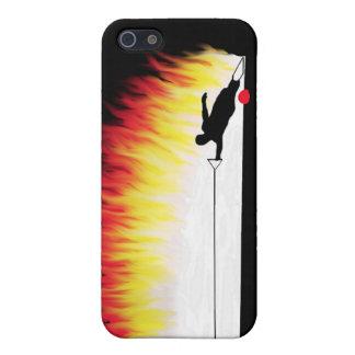 Esquiador del agua del eslalom con las llamas iPhone 5 carcasa