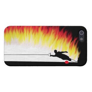 Esquiador del agua del eslalom con las llamas iPhone 5 funda