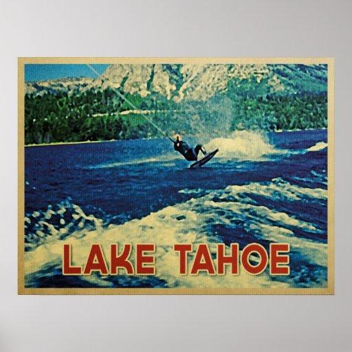 Esquiador del agua del lago Tahoe Póster