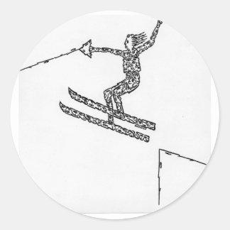 Esquiador del agua, hecho de caras pegatinas