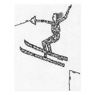 Esquiador del agua, hecho de caras postal