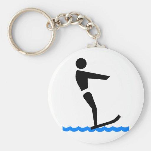 Esquiador del agua llavero redondo tipo pin