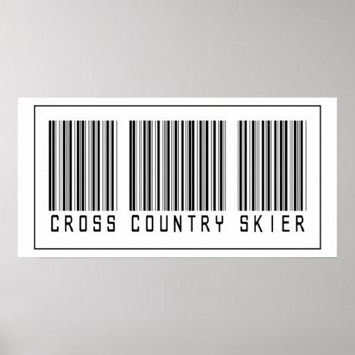 Esquiador del campo a través del código de barras poster
