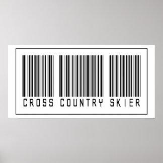 Esquiador del campo a través del código de barras póster