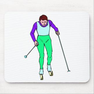 Esquiador del campo a través tapetes de raton