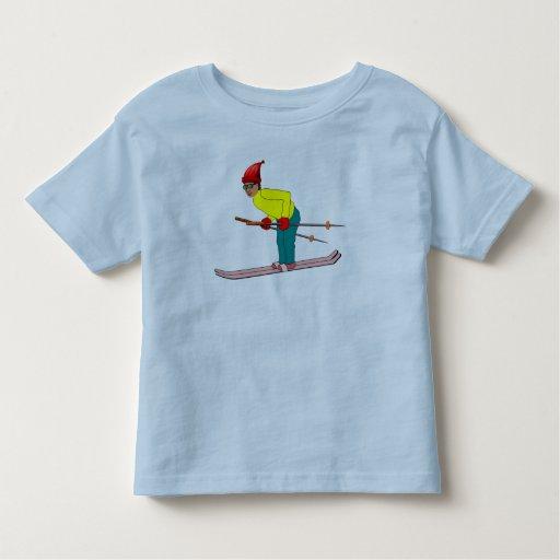 Esquiador del dibujo animado t-shirt