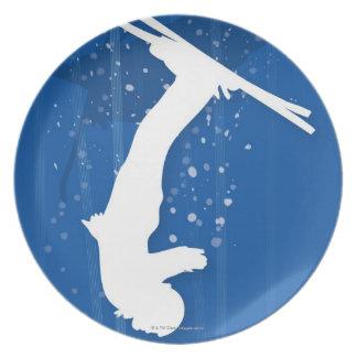 Esquiador del estilo libre plato de cena