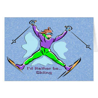 Esquiador del estilo libre tarjeta de felicitación