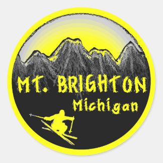 Esquiador del Mt. Brighton Michigan Pegatina Redonda