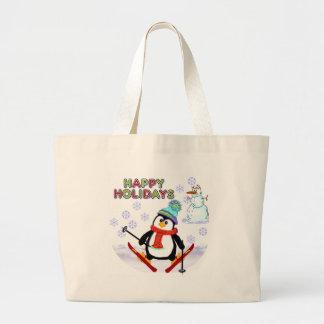 Esquiador del pingüino bolsas lienzo
