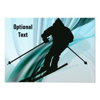 """Esquiador en declive en cintas heladas - invitación 5"""" x 7"""""""