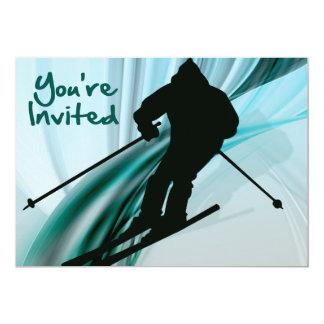 """Esquiador en declive en cintas heladas le invitan invitación 5"""" x 7"""""""